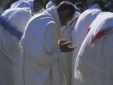Christian Men at Prayer During Mass in the Church at Woolisso  Shoa Province  Ethiopia