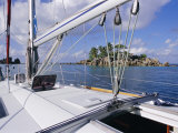 Ilet Saint Pierre (St Pierre Islet) from Boat  Anse Volbert  Island of Praslin  Seychelles