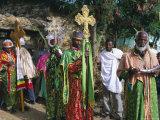 Procession of Christian Men and Crosses  Rameaux Festival  Axoum  Tigre Region  Ethiopia