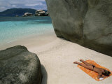 Woman Sunbathing on Beach Beween Rocks  Coco Island  Praslin  Seychelles  Indian Ocean  Africa