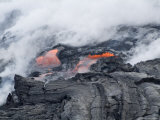 Steam Plumes from Hot Lava Flowing onto Beach and into the Ocean