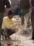 Fisherman Repairing Net  Essaouira Harbour  Morocco  North Africa  Africa