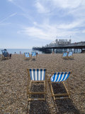 Deck Chairs and Pier  Brighton Beach  Brighton  Sussex  England  United Kingdom