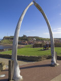 Whalebone Arch on Seafront  with Whitby Abbey Ruin in Distance  Whitby  Yorkshire