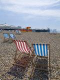 Deck Chairs and Pier  Brighton Beach  Brighton  Sussex  England  United Kingdom