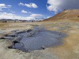 Tourists Around the Hot Mud Pools at Namaskard Thermal Area  Near Lake Myvatn  Iceland