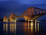 Forth Railway Bridge at Night  Queensferry  Edinburgh  Lothian  Scotland  United Kingdom