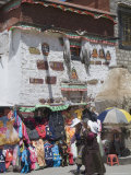 Market Stall in Front of Traditional Tibetan Architecture  Barkhor  Lhasa  Tibet  China