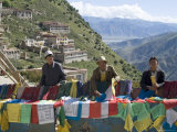 Selling Prayer Flags  Ganden Monastery  Near Lhasa  Tibet  China