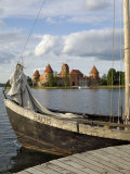 Traditional Boat and Trakai Castle  Trakai  Near Vilnius  Lithuania  Baltic States