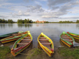 Colourful Rowing Boats and Trakai Castle  Trakai  Near Vilnius  Lithuania  Baltic States