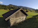 Wooden Barns Dot the Alpine Landscape  Near Garmisch-Partenkirchen and Mittenwald  Bavaria  Germany