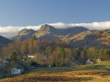Elterwater Village with Langdale Pikes  Lake District National Park  Cumbria  England