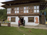 Phallus Symbols on House to Ward off Evil Spirits  Bumthang Valley  Bhutan