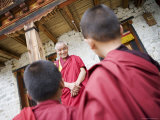 Buddhist Lama Teaching Young Monks  Karchu Dratsang Monastery  Bumthang  Bhutan