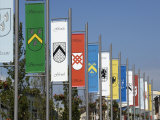 Pennants in Eyre Square Representing the Tribes of Galway  County Galway  Connacht  Ireland