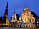 House of the Blackheads at Night  Town Hall Square  Ratslaukums  Riga  Latvia  Baltic States