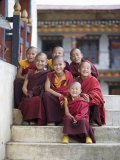 Group of Young Buddhist Monks  Karchu Dratsang Monastery  Jankar  Bumthang  Bhutan