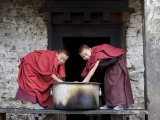 Buddhist Monks  Karchu Dratsang Monastery  Jankar  Bumthang  Bhutan
