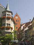 Street Scene with Gate Tower  Meersburg  Baden-Wurttemberg  Lake Constance  Germany