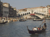 Gondolas on the Grand Canal at the Rialto Bridge  Venice  Unesco World Heritage Site  Veneto  Italy