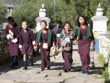 Bhutanese Children Going to School  Paro  Bhutan