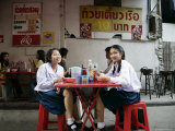 School Girls at Lunch Break  Bangkok  Thailand  Southeast Asia