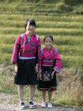 Girls of Yao Minority  Longsheng Terraced Ricefields  Guilin  Guangxi Province  China