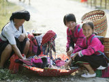 Woman and Girls of Yao Minority  Longsheng Terraced Ricefields  Guilin  Guangxi Province  China