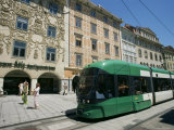 Trams Run Along Herrengasse  Stop at Hauptplatz in Main Street of Old Town  Graz  Styria  Austria