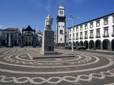 Main Square with Cabral Statue  Ponta Delgada  Sao Miguel Island  Azores  Portugal  Atlantic