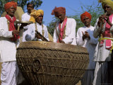 Local Musical Group Showing Large Drum  Rajasthan State  India