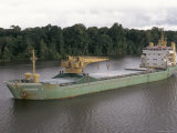 Cargo Ship in the Breves Narrows in the Amazon Area  Brazil  South America
