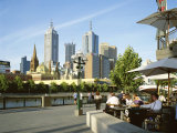Open Air Cafe  and City Skyline  South Bank Promenade  Melbourne  Victoria  Australia