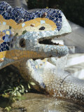 Close-Up of Mosaic Dragon  by Gaudi  Parc Guell  Barcelona  Catalonia (Cataluna) (Catalunya)  Spain
