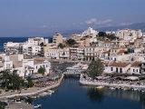 Bottomless Lake  or Lake Voulismeni in Foreground  Agios Nikolas  Crete  Greece