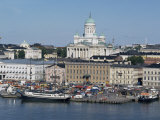 Harbour with Lutheran Cathedral Rising Behind  Helsinki  Finland  Scandinavia
