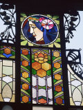 Detail of Art Nouveau Glasswork on the Community House  Prague  Czech Republic