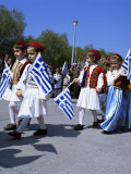 Children in National Dress Carrying Flags  Independence Day Celebrations  Greece