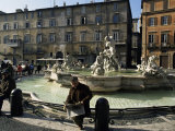 Fountain in the Piazza Navona  Rome  Lazio  Italy