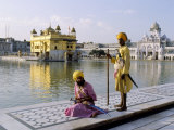 Sikhs in Front of the Sikhs&#39; Golden Temple  Amritsar  Pubjab State  India