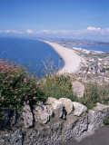 Chesil Beach and Portland Harbour  Isle of Portland  Dorset  England  United Kingdom