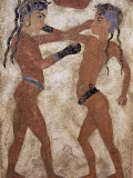 Fresco of Children Boxing from Akrotiri  Island of Santorini  Greece