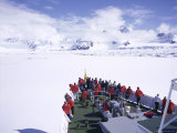 Tourists on Deck of a Cruise Ship  Sea Ice Cruising in Fast Ice  Antarctic Peninsula  Antarctica