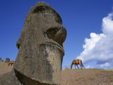 Close-Up of Rano Rarakay  Stone Head Carved from Crater  Moai Stone Statues  Easter Island  Chile