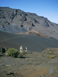 Tourists Hiking Inside Haleakala Crater  Haleakala National Park  Maui  United States of America