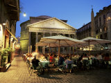 Restaurants Near the Ancient Pantheon in the Evening  Rome  Lazio  Italy