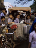 Schoolchildren in Cycle Rickshaw  Aleppey  Kerala State  India
