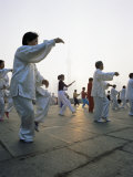 Early Morning T'Ai Chi Exercises in Huangpu Park on the Bund  Shanghai  China