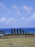 Beach with Nau Nau  Easter Island  Pacific Ocean  Chile  South America